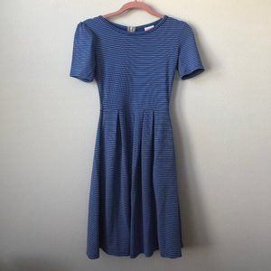 LuLaRoe Amelia Blue White Striped Dress XXS